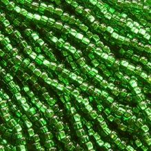 8/0 Czech Seed Bead Hank - Sliver Lined Green